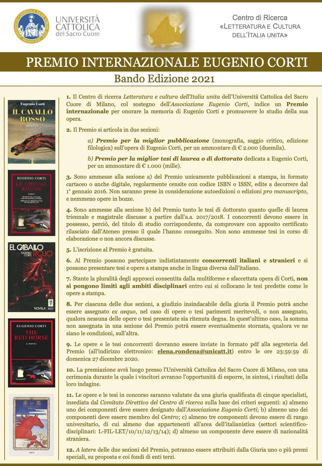 Premio Internazionale Eugenio Corti 2020
